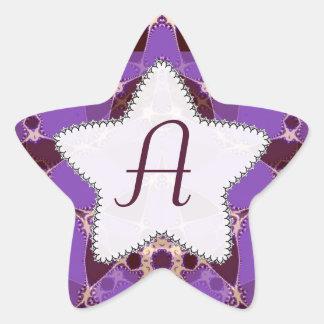 モノグラムのろうけつ染めの紫色の星のステッカー 星シール
