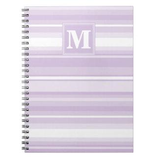 モノグラムのアザミの紫色のストライブ柄 ノートブック