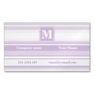 モノグラムのアザミの紫色のストライブ柄 マグネット名刺