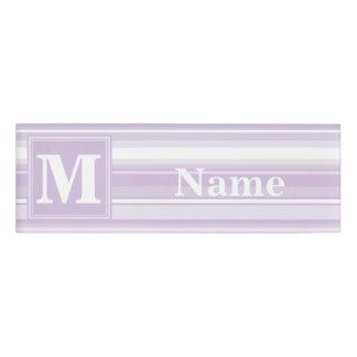 モノグラムのアザミの紫色のストライブ柄 名札
