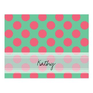 モノグラムのアロエの緑の珊瑚のピンクの水玉模様パターン ポストカード