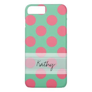 モノグラムのアロエの緑の珊瑚のピンクの水玉模様パターン iPhone 8 PLUS/7 PLUSケース