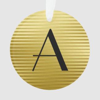 モノグラムのアール・デコの金ゴールドのサテンは縞で飾ります オーナメント