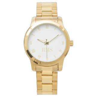 モノグラムのイニシャルのユニセックスで豪華な金ゴールドのブレスレットの腕時計 腕時計