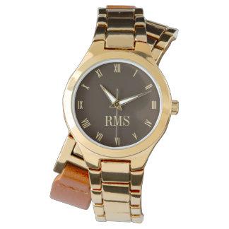 モノグラムのイニシャルの女性ラップアラウンドの金時計 腕時計