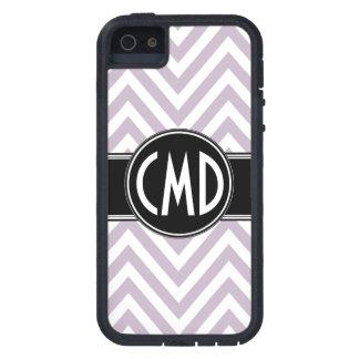 モノグラムのイニシャルの薄紫シェブロン iPhone SE/5/5s ケース