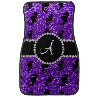 モノグラムのインディゴの紫色のグリッターのタツノオトシゴ カーマット