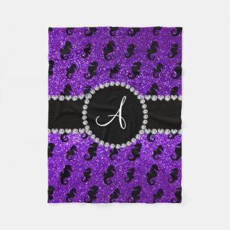 モノグラムのインディゴの紫色のグリッターのタツノオトシゴ フリースブランケット