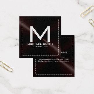 モノグラムのエレガントでモダンで暗いステンレス製の金属 スクエア名刺