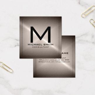 モノグラムのエレガントでモダンなステンレス製の金属 スクエア名刺