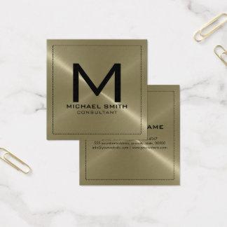 モノグラムのエレガントでモダンなタンのステンレス製の金属 スクエア名刺