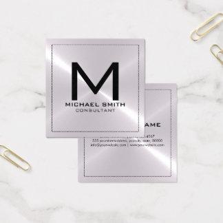 モノグラムのエレガントでモダンな銀製のステンレス製の金属 スクエア名刺