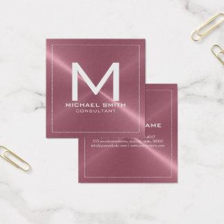 モノグラムのエレガントでモダンな銅のステンレス製の金属 スクエア名刺