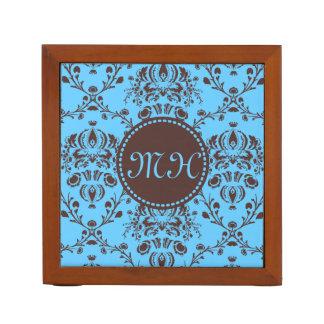 モノグラムのエレガントなチョコレート色のダマスク織のスカイブルー ペンスタンド