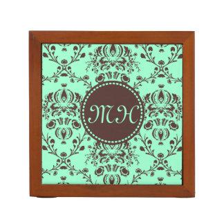 モノグラムのエレガントなチョコレート色のダマスク織のミントの緑 ペンスタンド