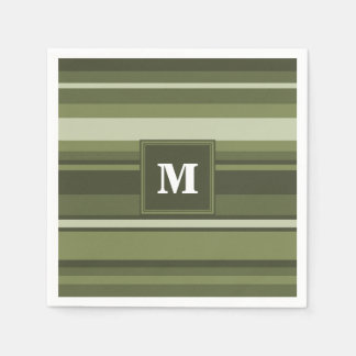 モノグラムのオリーブ色のストライブ柄 スタンダードカクテルナプキン