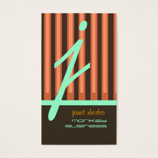 モノグラムのオレンジかチョコレートまたはseafoamは縞で飾ります 名刺