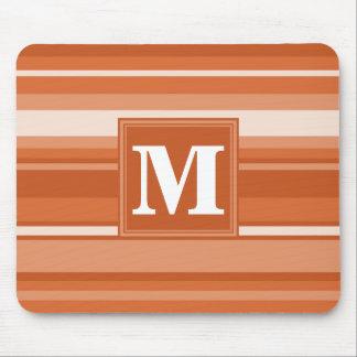 モノグラムのオレンジは縞で飾ります マウスパッド
