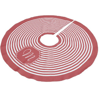 モノグラムのオーロラの赤と白のストライプの ブラッシュドポリエステルツリースカート