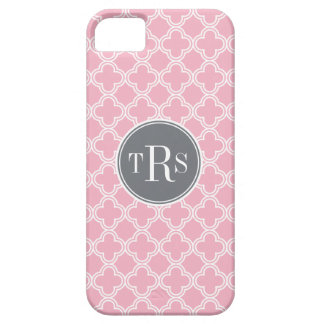 モノグラムのカーネーションのピンクの灰色のクローバーパターン iPhone 5 COVER