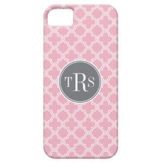 モノグラムのカーネーションのピンクの灰色のクローバーパターン iPhone SE/5/5s ケース