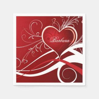 モノグラムのガーリーな赤く及び白いハートおよび花柄の渦巻 スタンダードカクテルナプキン