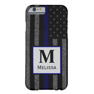 モノグラムのグランジで薄いブルーライン旗 BARELY THERE iPhone 6 ケース