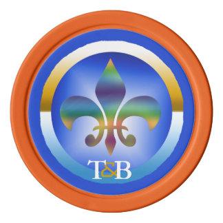 モノグラムのサイケデリックな虹の(紋章の)フラ・ダ・リ ポーカーチップ