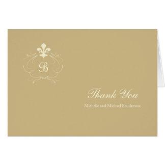 モノグラムのシャンペンの金ゴールドの(紋章の)フラ・ダ・リは感謝していしています カード