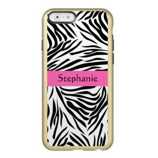 モノグラムのショッキングピンクの白黒シマウマのプリント INCIPIO FEATHER SHINE iPhone 6ケース
