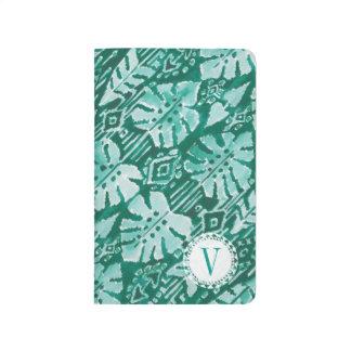 モノグラムのジャングルのイカットのハワイの緑の熱帯 ポケットジャーナル