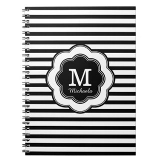 モノグラムのスタイリッシュな白黒のストライプのなノート スパイラルノート