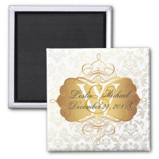 モノグラムのダマスク織の結婚式、磁石 マグネット