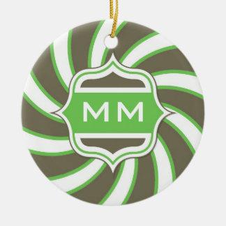 モノグラムのチョコレート色のレトロの螺線形のライムグリーン セラミックオーナメント