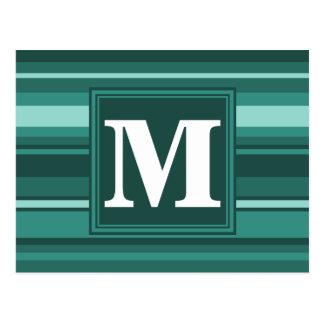 モノグラムのティール(緑がかった色)は縞で飾ります ポストカード