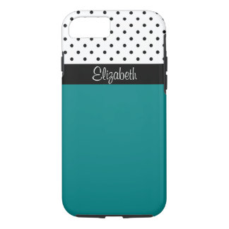 モノグラムのティール(緑がかった色)、白黒の水玉模様色のブロック iPhone 8/7ケース