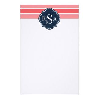 モノグラムのトリオのスイカのピンクのストライプパターン 便箋