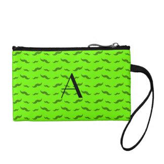 モノグラムのネオン緑の髭パターン コインパース