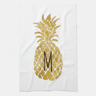 モノグラムのパイナップル キッチンタオル