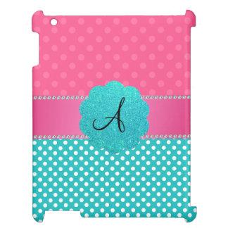 モノグラムのピンクおよびターコイズの水玉模様 iPadケース