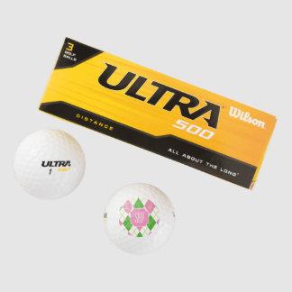 モノグラムのピンクのアーガイル柄のでプレッピーなゴルフ・ボール ゴルフボール