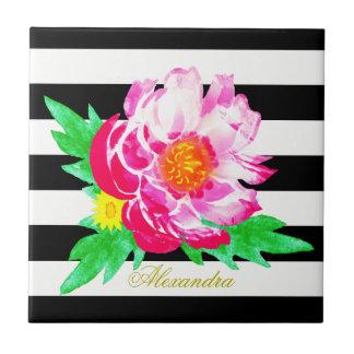 モノグラムのピンクのシャクヤクの黒く及び白いセラミックタイル タイル