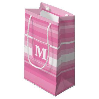 モノグラムのピンクのストライブ柄 スモールペーパーバッグ