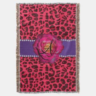 モノグラムのピンクのヒョウのピンクのバラの紫色のストライブ柄 スローブランケット