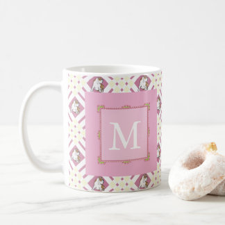 モノグラムのピンクのブルドッグ コーヒーマグカップ