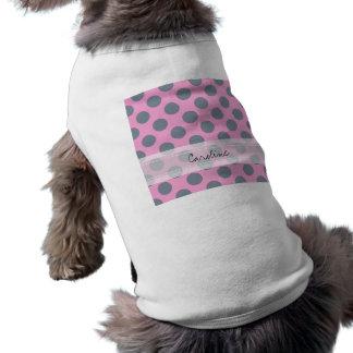 モノグラムのピンクの灰色のシックな水玉模様パターン ペット服