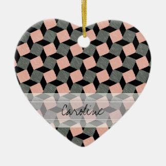 モノグラムのピンクの灰色の幾何学的なイカットの正方形パターン セラミックオーナメント