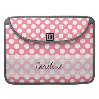モノグラムのピンクの白く粋なおもしろいの水玉模様パターン MacBook PROスリーブ
