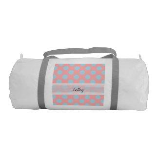モノグラムのピンクの青くシックな水玉模様パターン ジムバッグ