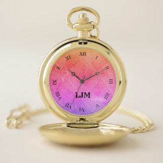 モノグラムのピンク-紫色の抽象的なイメージの壊中時計 ポケットウォッチ